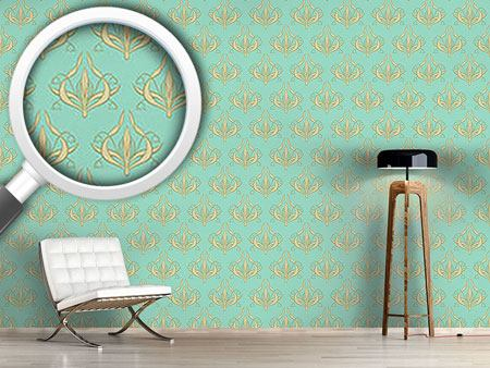 Designmuster Tapete Lilly Aquamarin