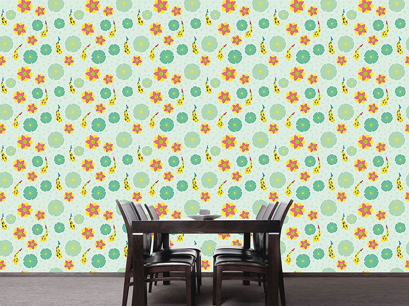 Pattern Wallpaper Fishes and Waterlilies Pattern
