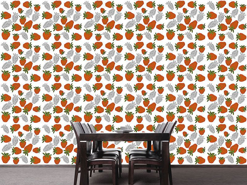 Pattern Wallpaper Strawberries Red