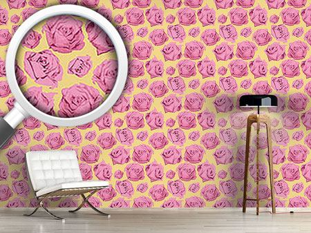 Pattern Wallpaper Art Rose Gelb