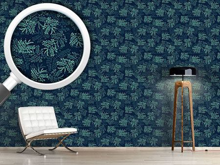 Pattern Wallpaper Acacia Leaves Blue
