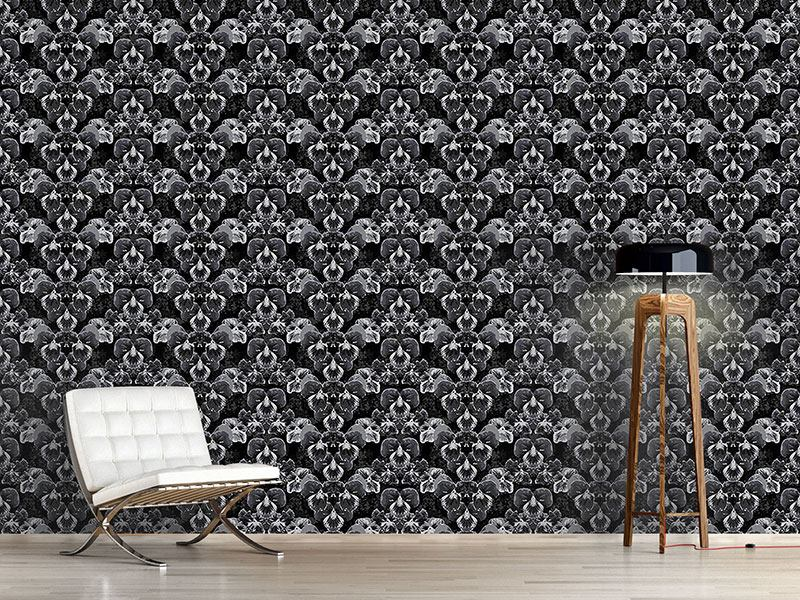 Pattern Wallpaper Pansy In Slate Grey