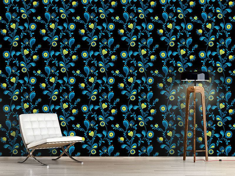 Pattern Wallpaper Paisley Flowers By Midnight