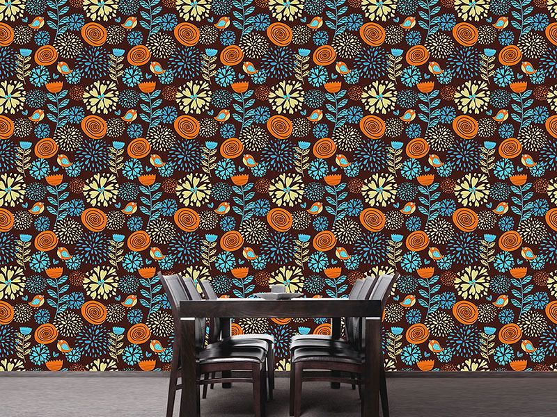Pattern Wallpaper The Autumn Pleasures Of The Little Birds