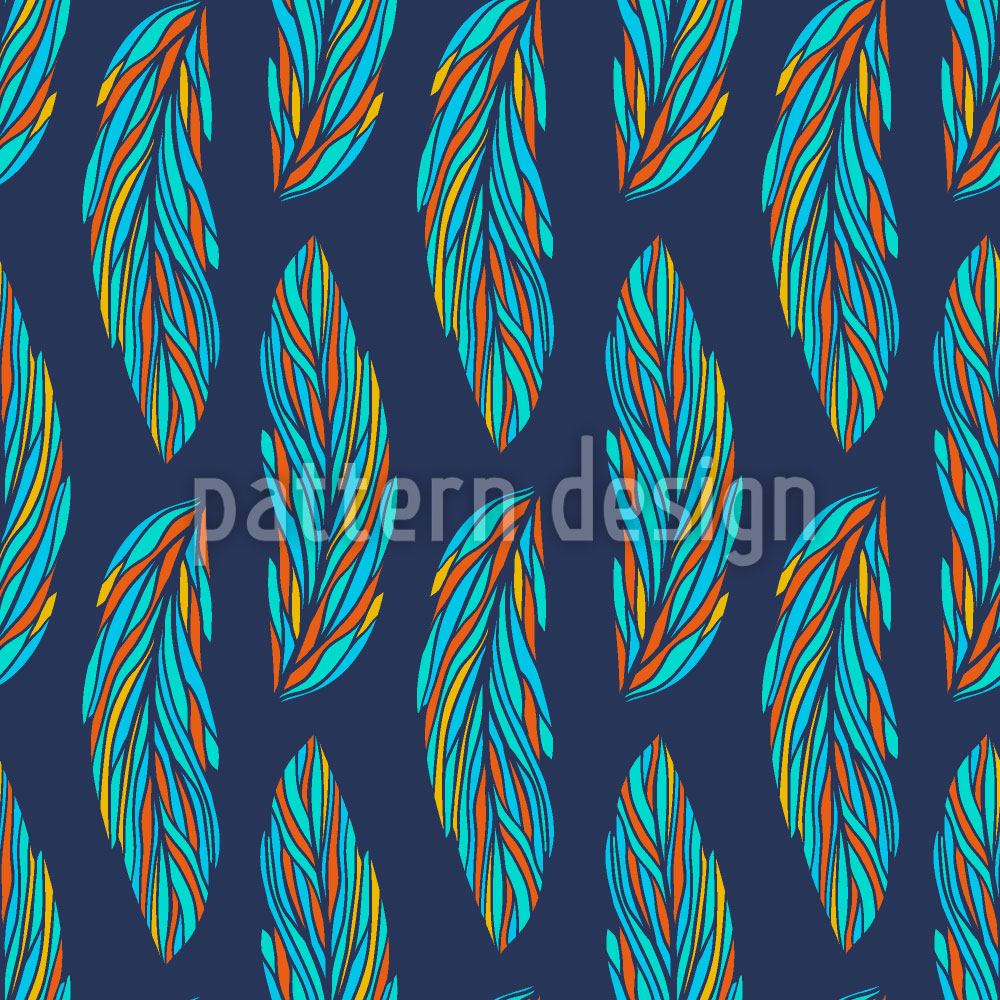 Pattern Wallpaper Feather Leaves At Night