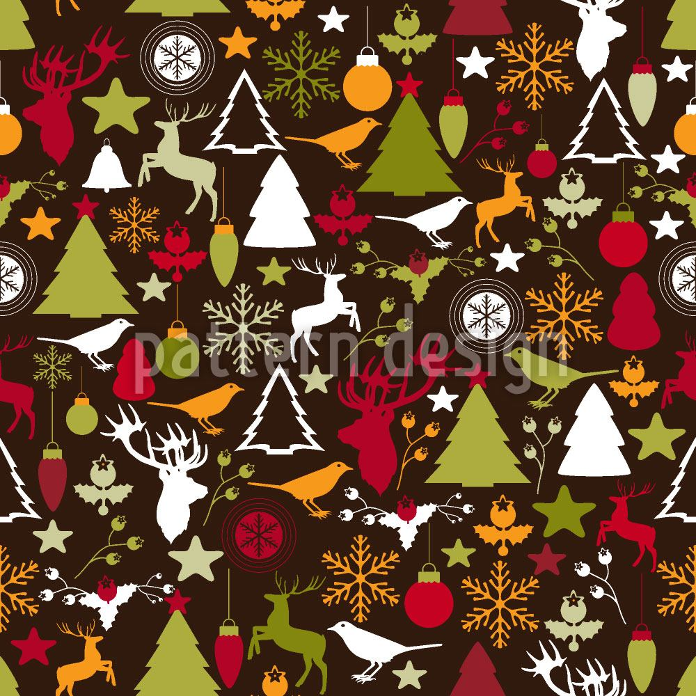 Papier peint design Christmas In The Forest