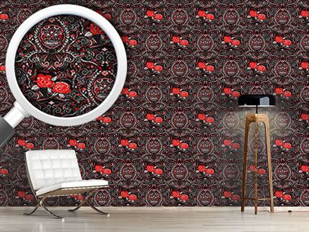 Pattern Wallpaper Death And Roses