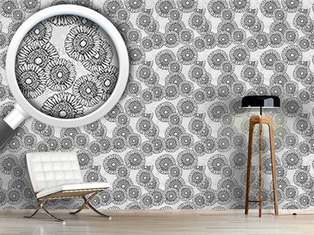 Pattern Wallpaper Sun Flowers Grey