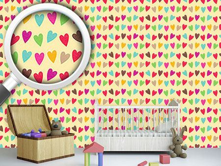 Pattern Wallpaper Crocheted Hearts