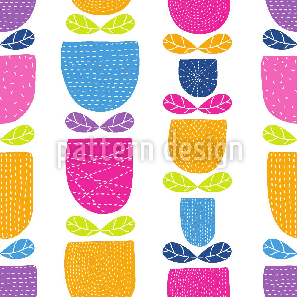 Pattern Wallpaper Stitched Tulips
