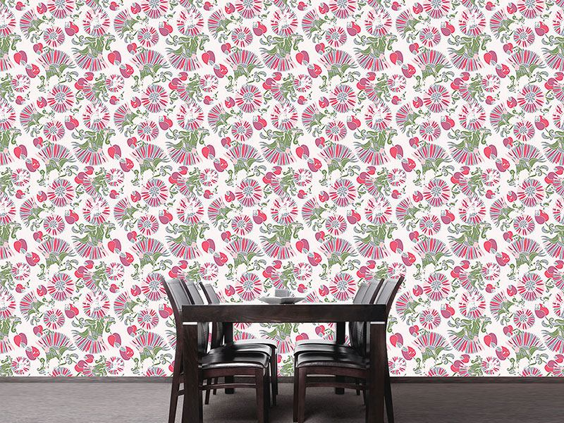 Pattern Wallpaper Geometric Summer Flowers