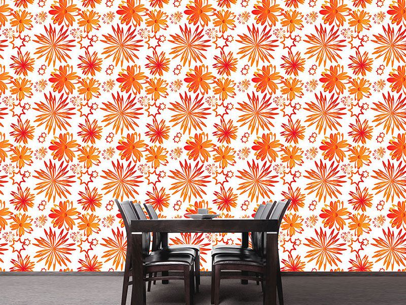 Pattern Wallpaper Rotating Flowers