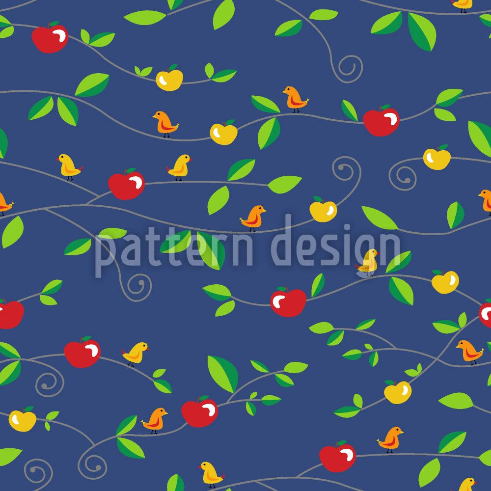 Papier peint design Birds Apples Leaves