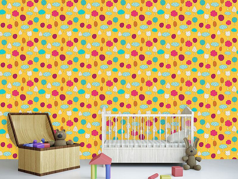 Pattern Wallpaper Magnificent Fruit Trees