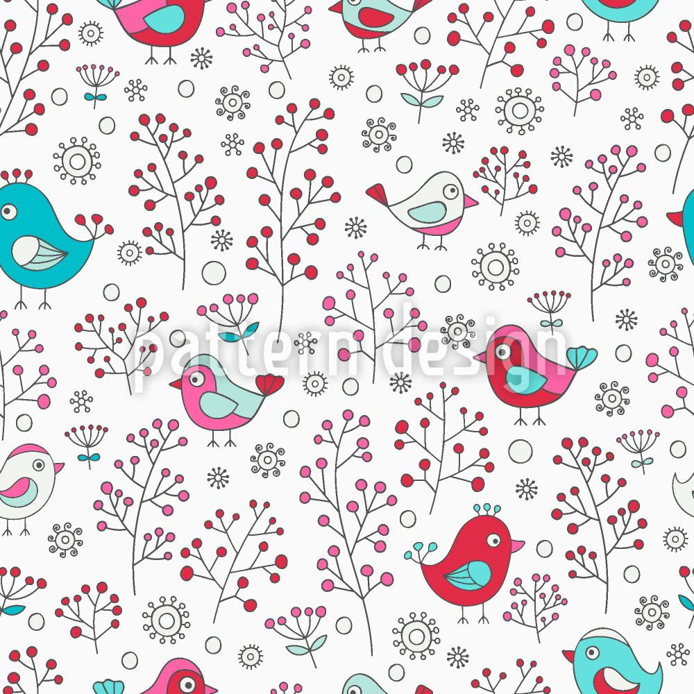 Pattern Wallpaper Birds And Berries