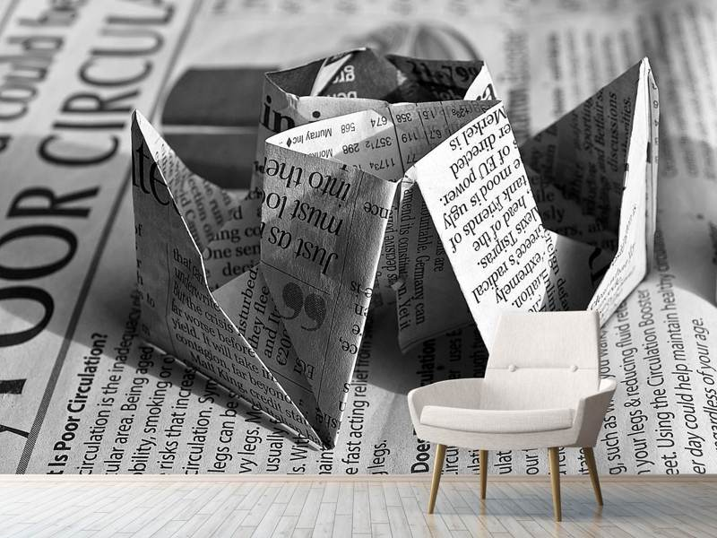 Photo Wallpaper Origami newspaper