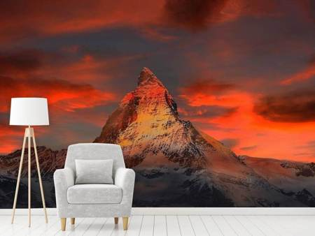 Photo Wallpaper Mountains of Switzerland at sunset
