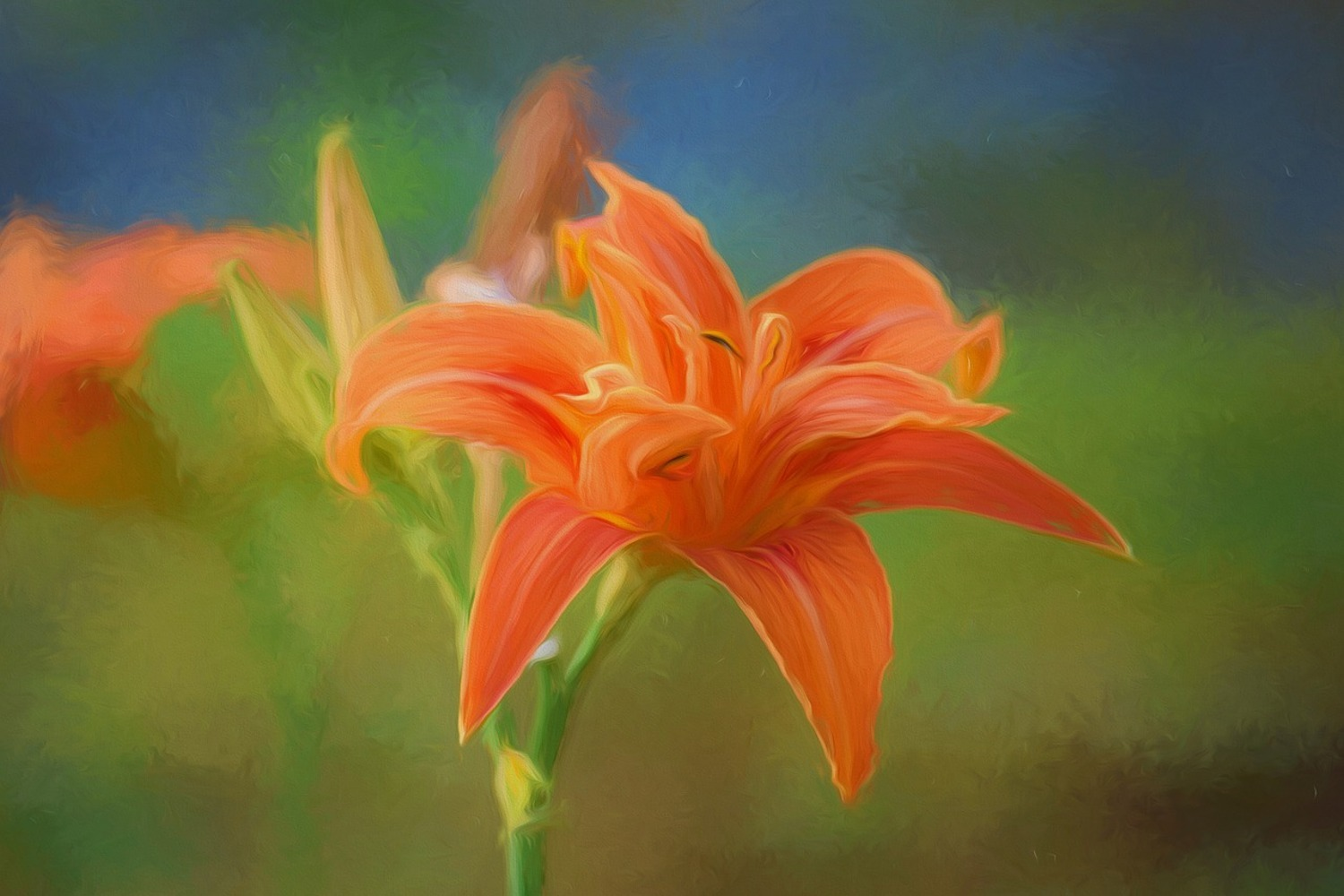 Photo Wallpaper Painting of a lily