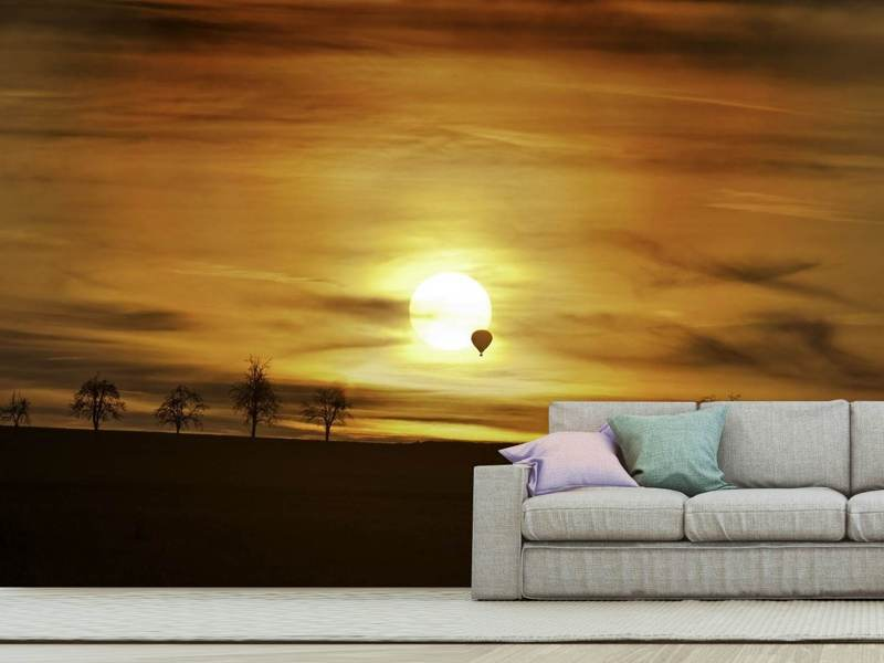 Photo Wallpaper Sunset with hot air balloon