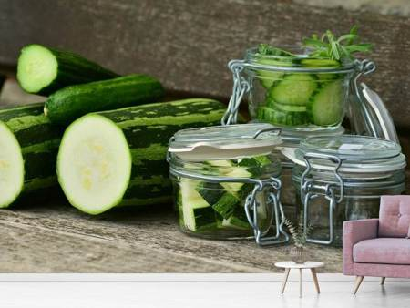 Photo Wallpaper Zucchinis and cucumbers