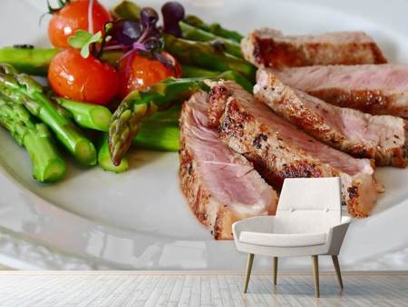 Photo Wallpaper Meat with asparagus