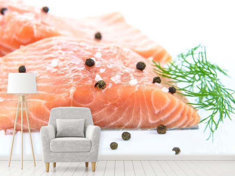 Photo Wallpaper Raw salmon