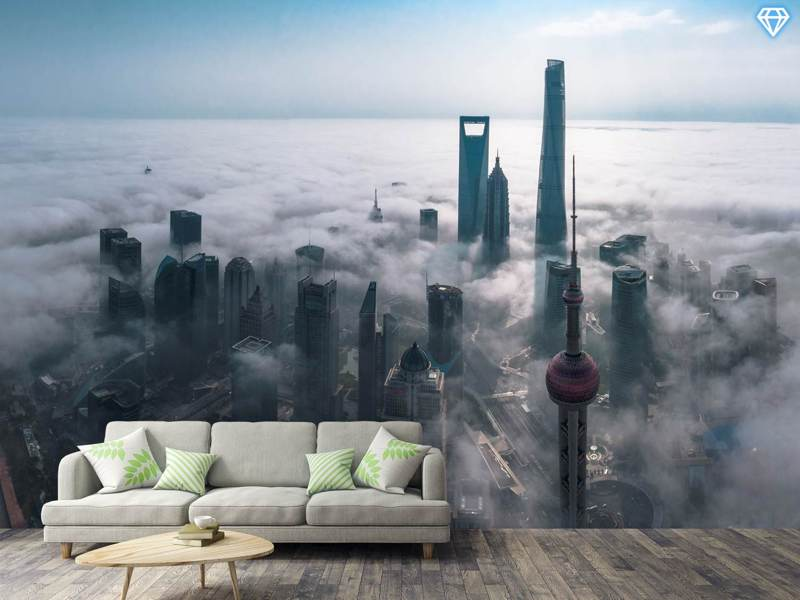 Photo Wallpaper Shanghai In The Fog From Above
