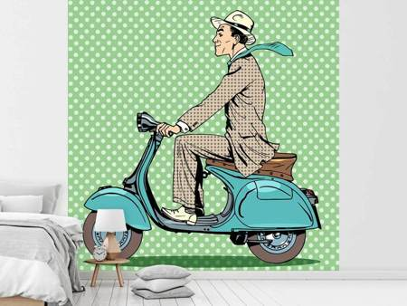 Papier peint photo Conducteur de Vespa Pop art